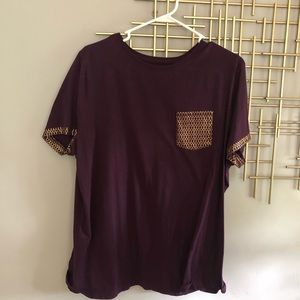 Plum T-shirt with Gold Accents